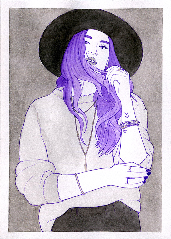A black and white ink painting of a woman in an oversized sweater and a black hat. She has bright purple hair.
