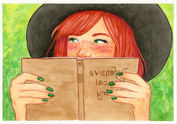 """An illustration of Lily Evans from Harry Potter, holding a """"Defense against the dark arts"""" book up to her face to cover her blushing."""