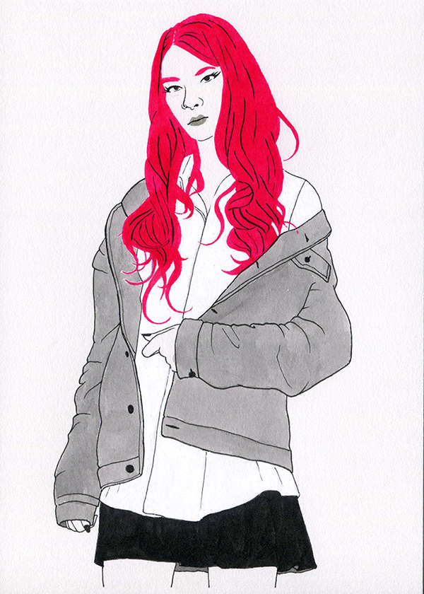 A black and white painting of a very pale girl with a schoolgirl outfit. She has fiery red hair.