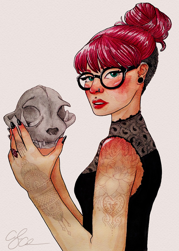 An illustration of a pale girl with an undercut, pink hair pulled into a bun. Her punk aesthetic includes face piercings, a sleeve tattoo, black clothes and black painted fingernails. She is holding a cat skull which she is examining.
