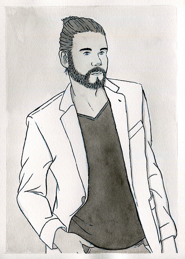 A black and white ink painting of a man with a short beard and long hair in a bun, wearing a dark shirt and a white blazer.