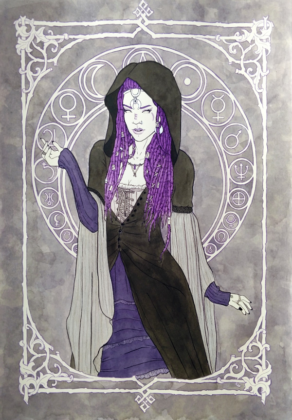 A black and white painting of a witch wearing a long black cloak and purple dreadlocks. She is framed by a decorative design that includes astrological symbols.