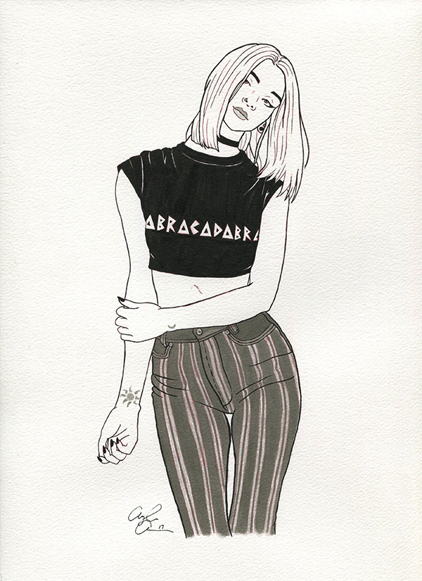 """A black and white drawing of a girl with a black crop-top shirt that says """"Abracadabra"""" and grey pinstriped pants."""