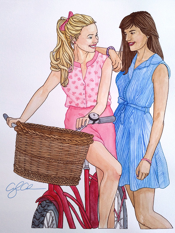 A warm painting of two best friends standing together and smiling. The girl on the left wears a pink dress and leans on her bicycle that has a basket. The girl on the right wears a blue striped dress and has her arm on her friend's shoulder.