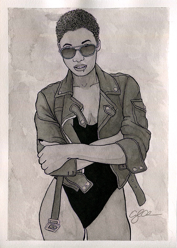 A black and white painting of a woman with a biker vibe. She is wearing a black bodysuit and  leather jacket with aviator sunglasses.