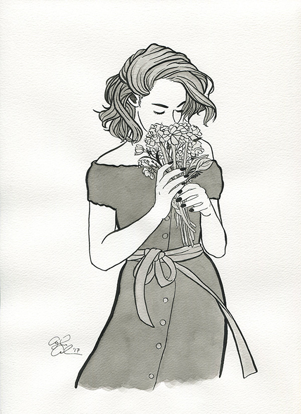 A loose painting of a girl with a flowing dress, silently smelling a bouquet of flowers.