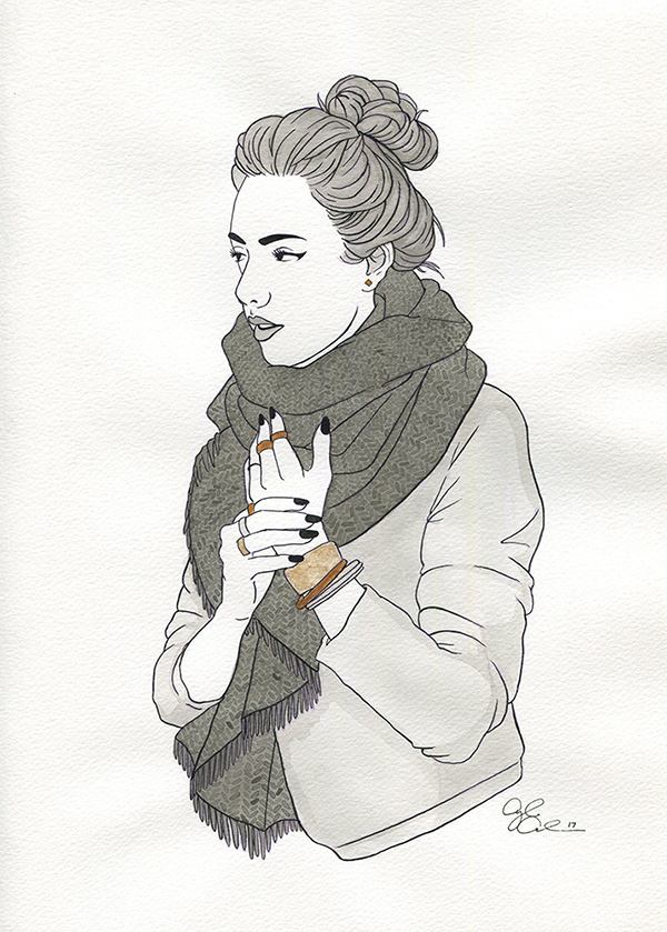 An ink and watercolor painting of a woman with a large chunky scarf and lots of rings and bracelets.