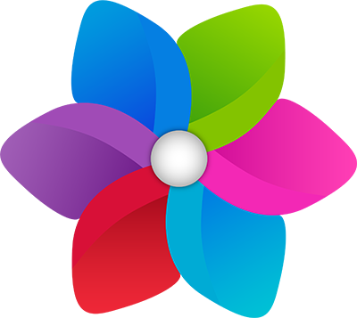 New logo that looks like a pinwheel with brighter and more modern colors