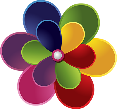 Old logo that looks like a flower with round petals