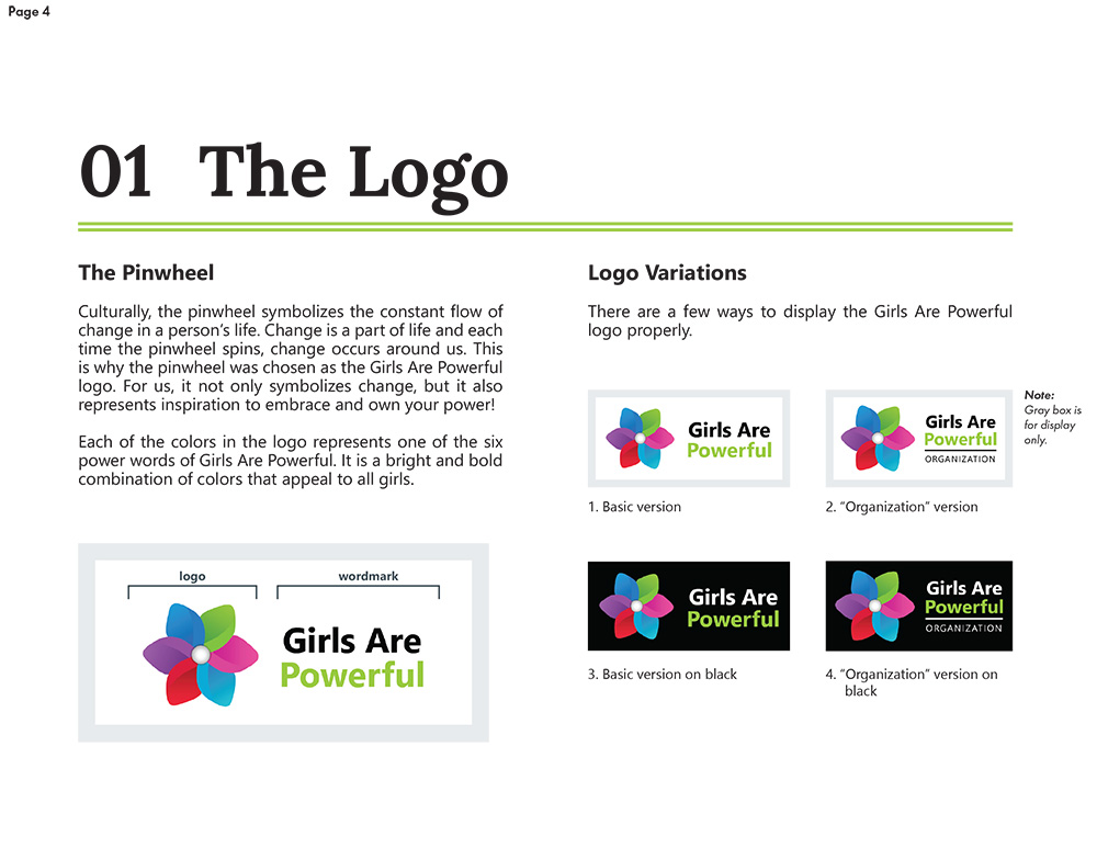 Logo page of the new brand style guide