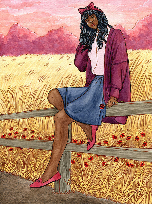 An illustration of a woman wearing a cardigan and skirt, sitting on a fence next to a field of wheat with a pink sky behind her.