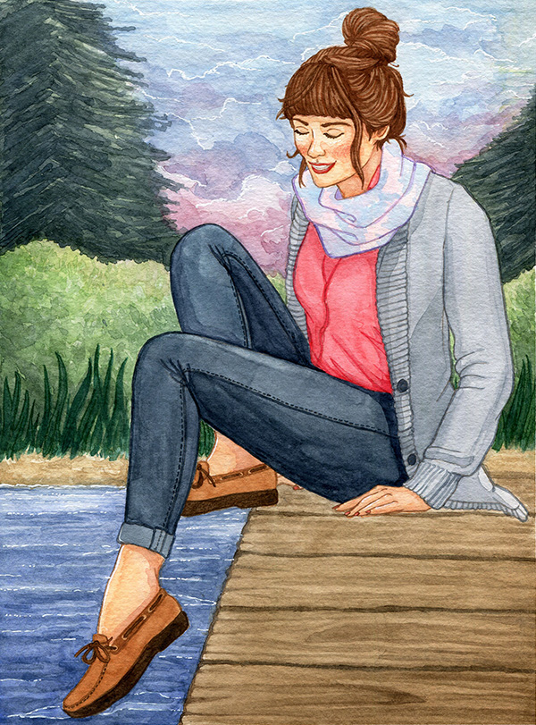 An illustration of a woman sitting on a dock, dipping her toe into the water peacefully. Behind her are pine trees and a pink and purple sunset.