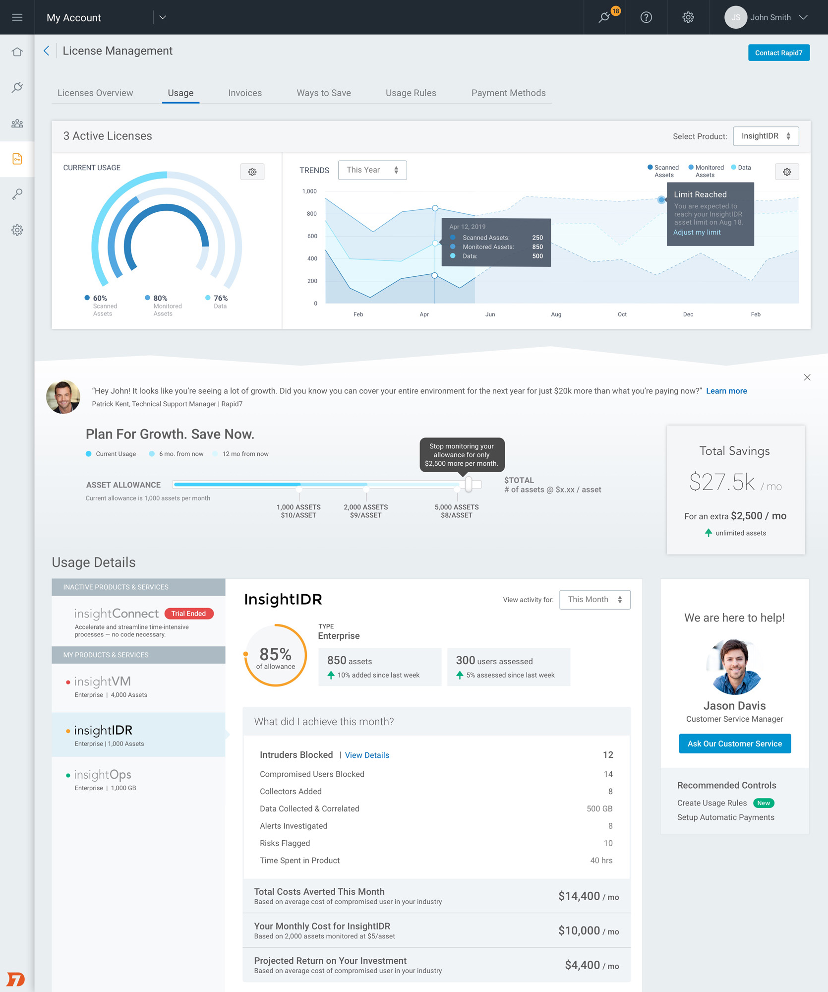 Rapid7 cloud platform interface with a view of license usage data.