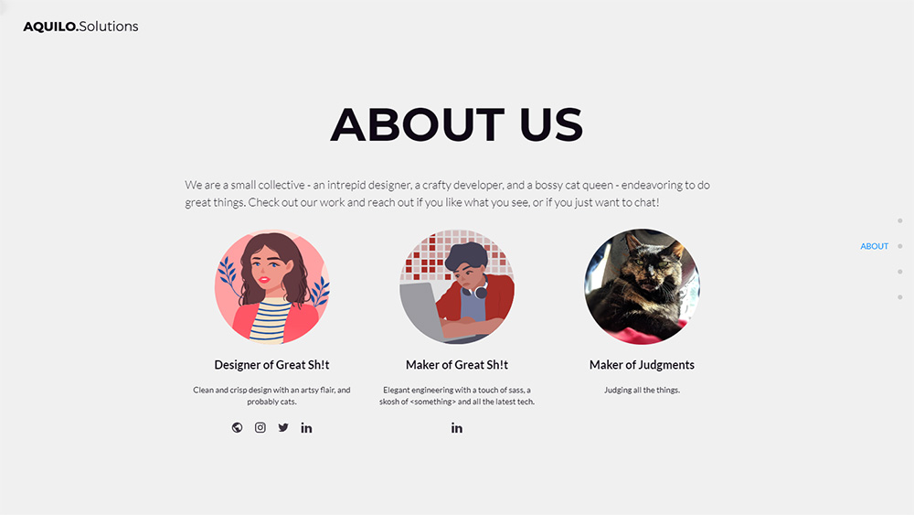"screenshot of website that says ""About Us"" and includes pictures of a designer, developer, and a cat."