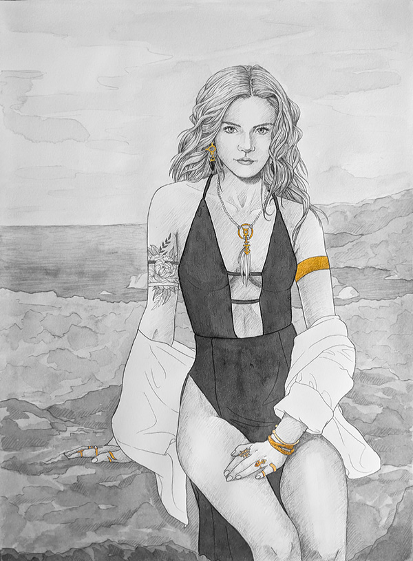 A black and white painting of a woman in a one-piece bathing suit sitting on some rocks by the beach.