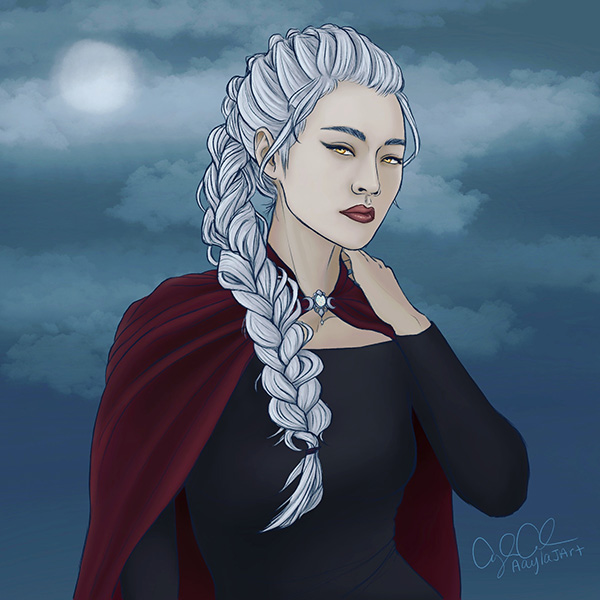 Digital illustration of the character named Manon Blackbeak from the Throne of Glass series by Sarah J Maas.