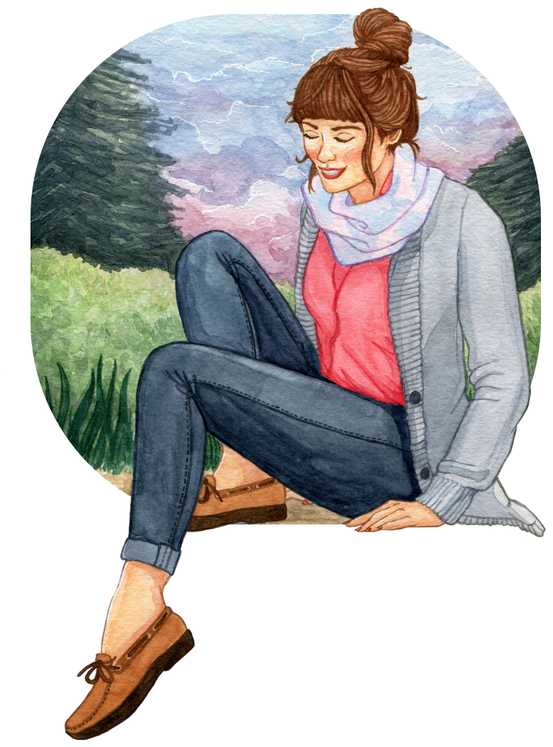 A watercolor illustration of a woman sitting on a dock dipping her toe in the water, with a cloudy sunset in the background.