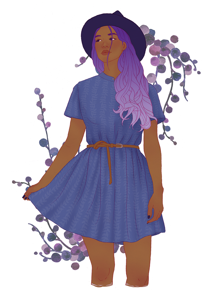 A witch in a periwinkle dress with lavender hair and flowers in the background.