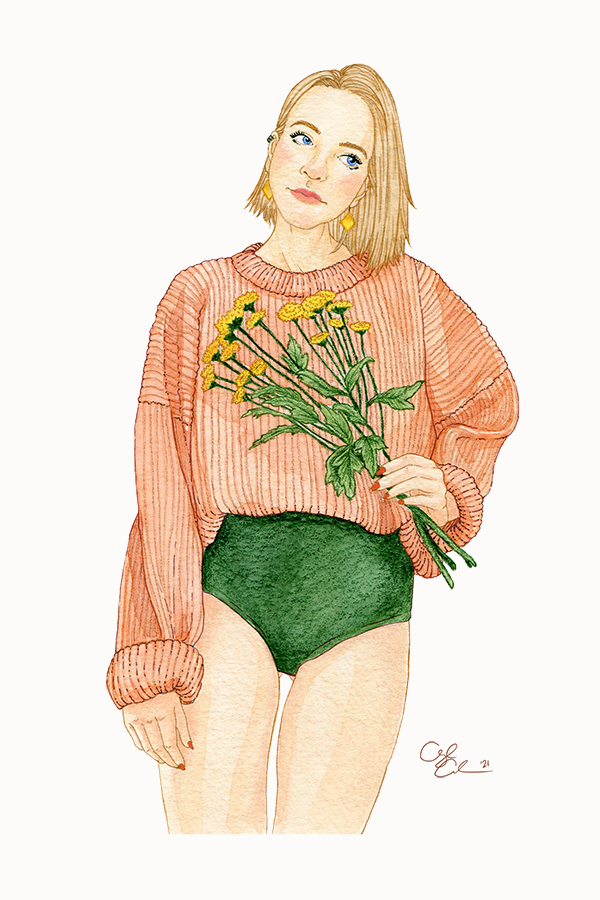 Illustration of a blonde woman in a peach oversized sweater and green underwear, holding daisies.