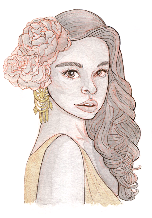 Ink watercolor of a young woman with large roses in her long wavy hair, a shimmery gown and intricate gold earrings.