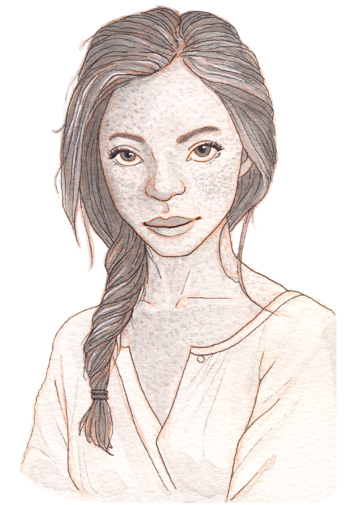 A pale Irish girl with a serious look. Her hair is tied in a loose twist and she is fully covered with freckles.