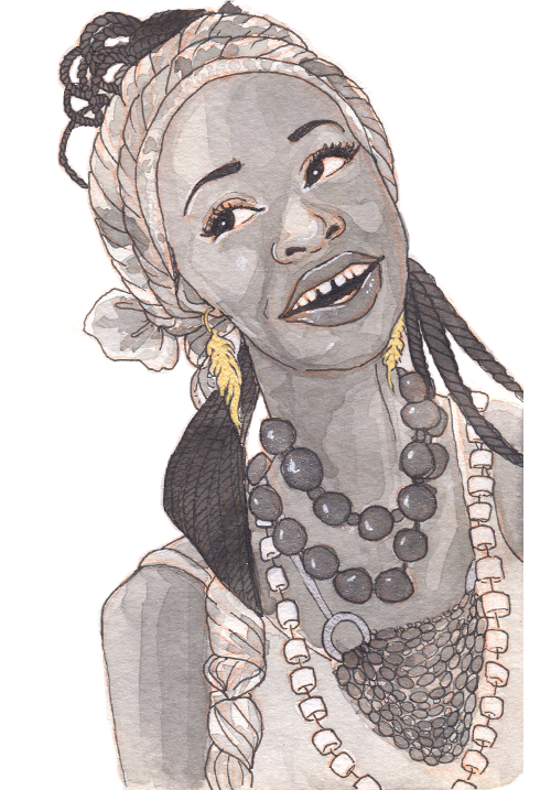 A black woman with long locs twisted with a patterned scarf. She wears many necklaces with large beads and smiles joyfully.