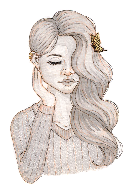 Black and white watercolor of a young woman with a golden butterfly in her long wavy hair. She is touching her cheek softly.