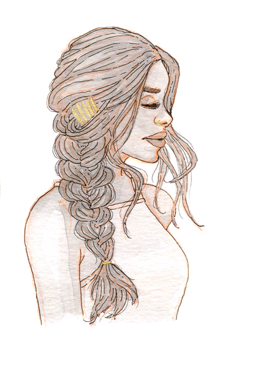 Black and white watercolor of a mixed woman in profile, with a thick fishtail braid to one side and gold bobby pins.
