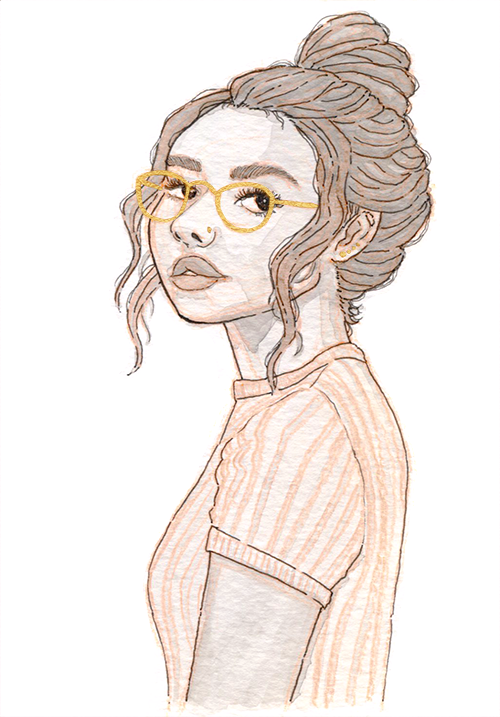 Black and white watercolor of a young woman in a vertical striped shirt with a messy bun and gold glasses.