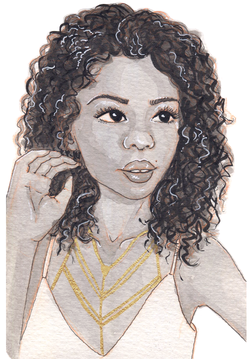 A young black woman with shoulder-length hair in loose curls. She has a v-shaped golden necklace with many layers.