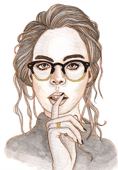 A woman with her hair in a messy bun and wavy loose strands. She has retro gold-rimmed glasses and a finger to her lips.