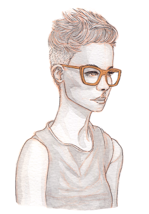 A very pale woman with an undercut and short spiky hair on top looks intensely to the side. She has large, square glasses.