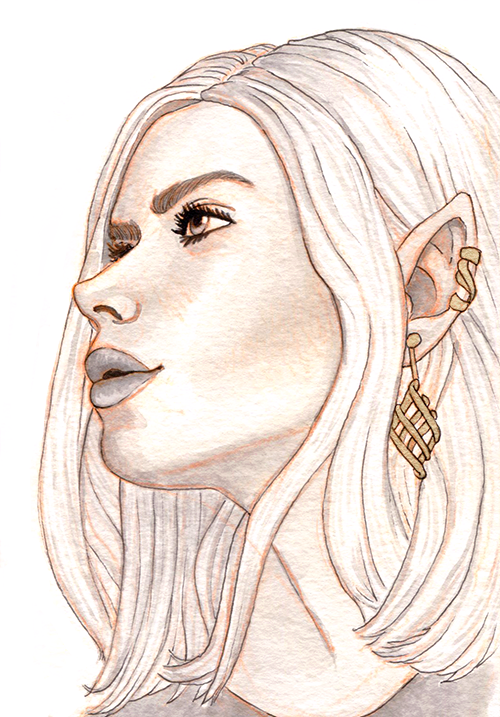 A pale elven woman in profile with white hair, glittery cheeks, and an intricate Celtic knot earring.