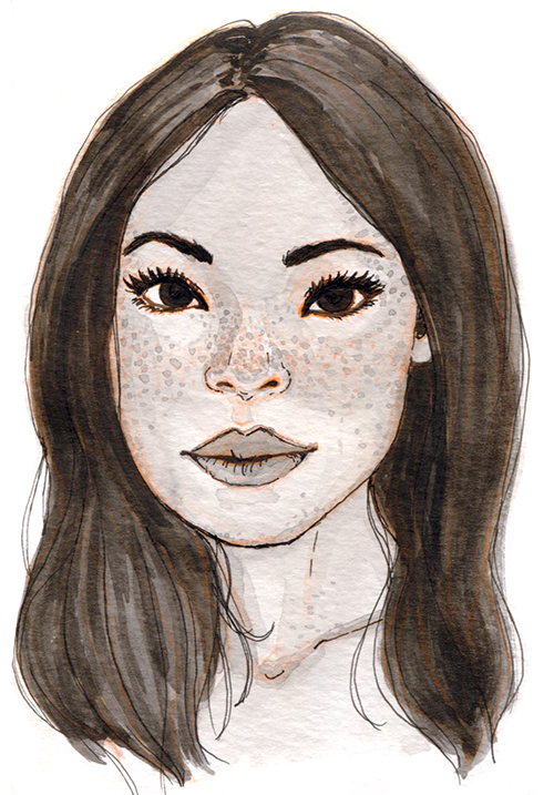 Black and white watercolor of an Asian woman smiling softly with thick eyebrows, full lips, and lots of freckles.