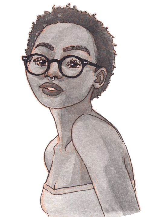 A thin Kenyan woman smiling with short natural hair, glasses, and a nose ring.