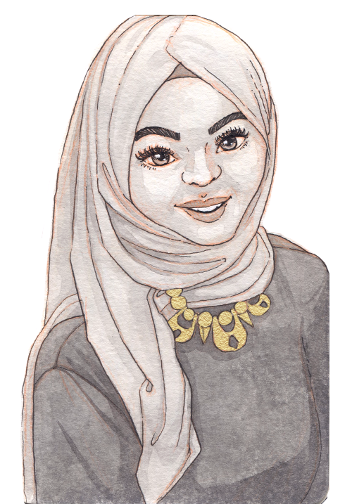 An Arab woman with an elegant hijab smiles warmly. She has a dark gown and chunky gold necklace.