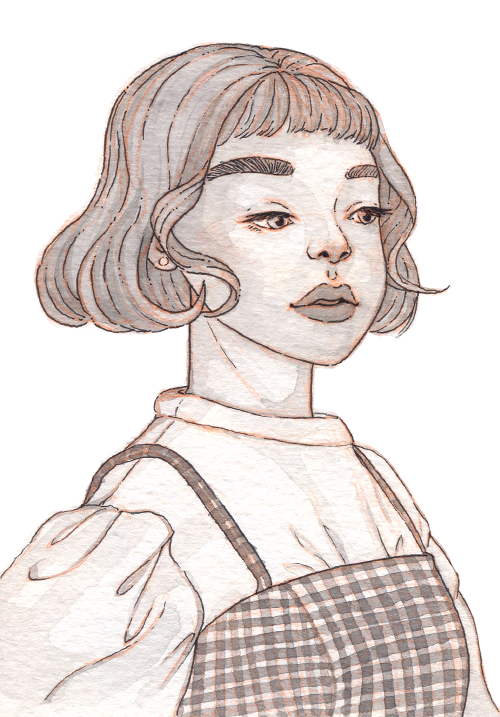 An Asian schoolgirl with a curly bob haircut, poofy white blouse, and checkered pattern dress.