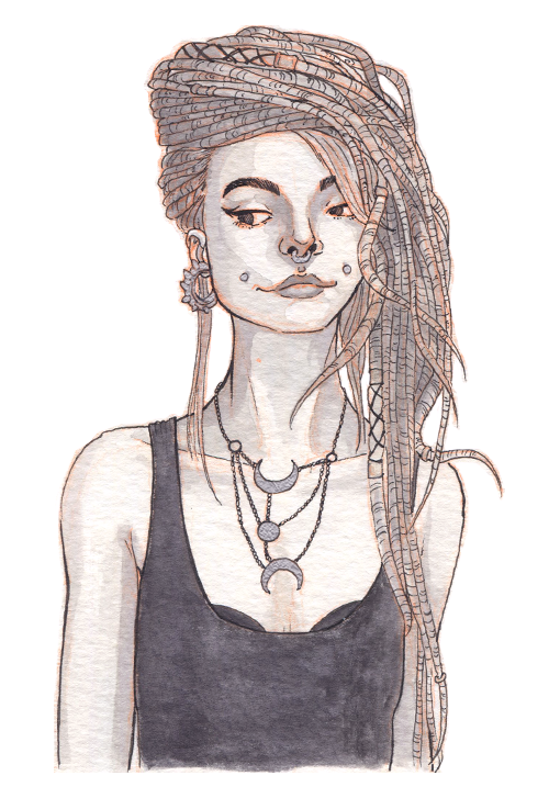 A very thin punk-goth girl looking cat-like and sly. She has long dreadlocks, a moon-shaped necklace, and several face piercings.