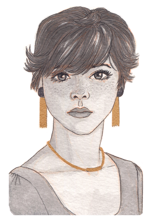 A young androgynous girl with short, wispy hair and lots of freckles.