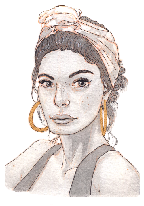 A tanned woman looks serious and strong, her tank top showing her toned arms and her hair wrapped with a patterned scarf. She has large gold hoop earrings.