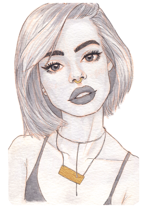 A pale girl with light colored hair cut in a neat bob. Her dark eyes and thick eyebrows stand out.