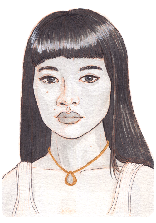 A young Asian woman looking focused. She has long hair, straight cut bangs, and a tear-shaped golden necklace.