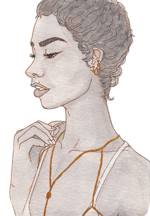 Young black woman in profile with a beauty mark above her lip. She has an intricate golden necklace and earrings.