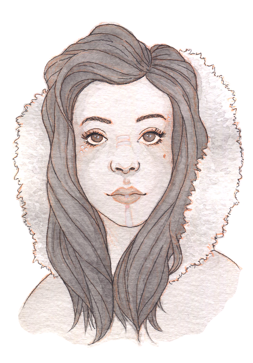 A First Nations girl with long dark hair looks out from a large furry hood. She has white markings on her face.