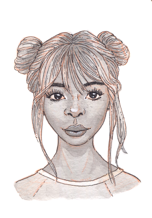 A young black woman with large doe eyes and a sweet smile. Her light colored hair is up in two buns.
