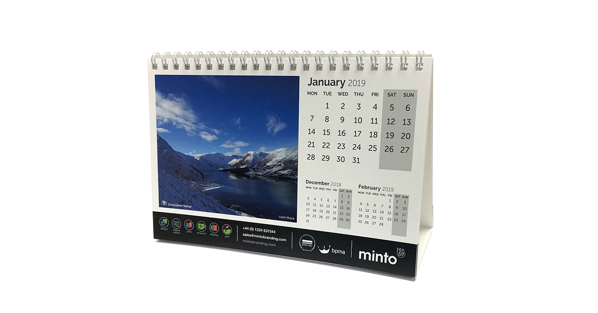 Minto 2019 Calander (Featuring January & Chrisopher Walker's Loch Muick)