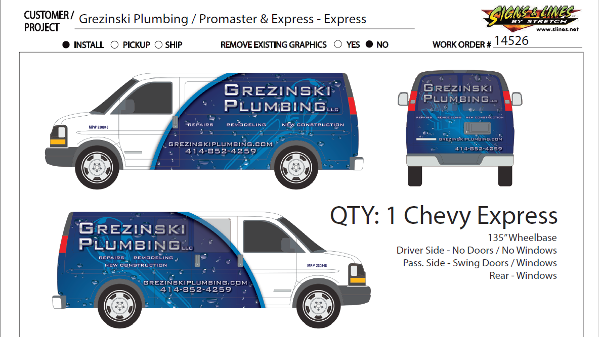 Grezinski Plumbing work van designed and produced by Signs & Lines by Stretch