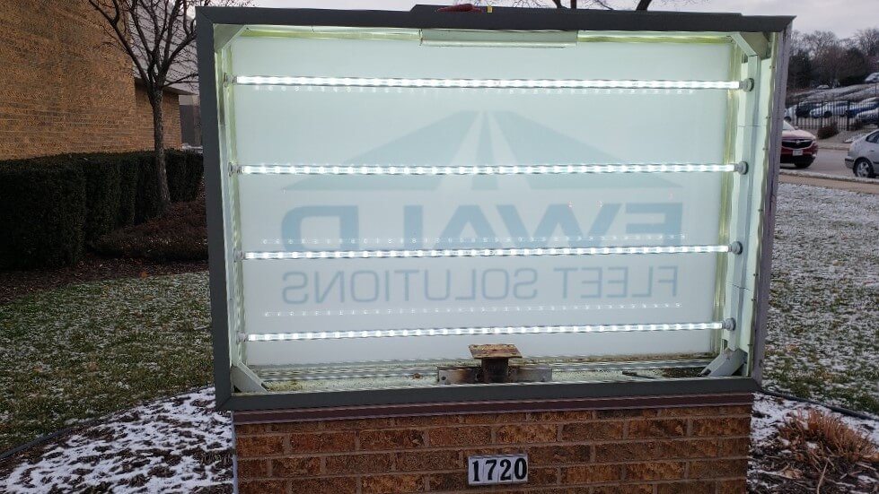 Interior LEDs of Ewald Monument Sign