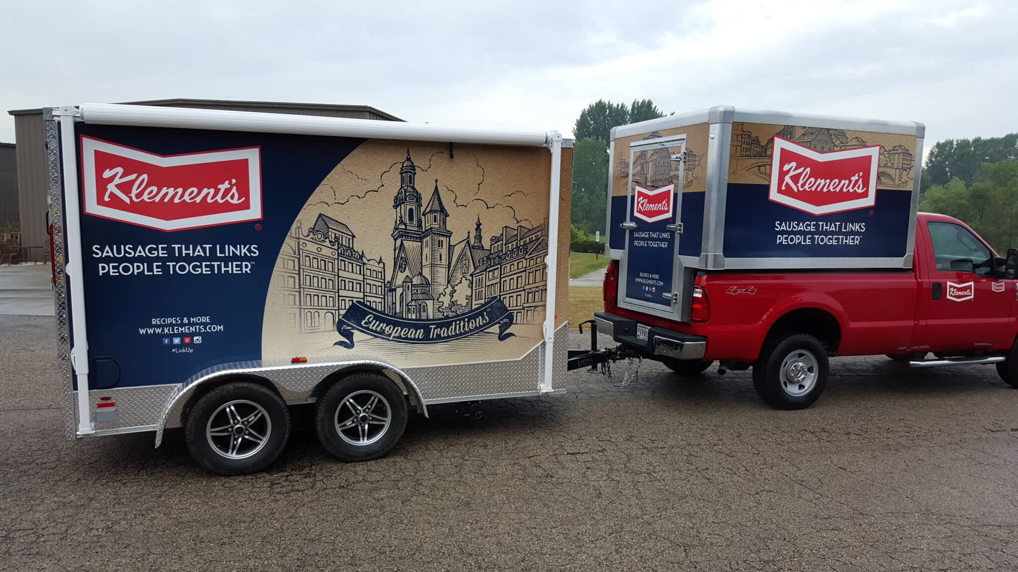 Klement's sausage Cab and Trailer wrap