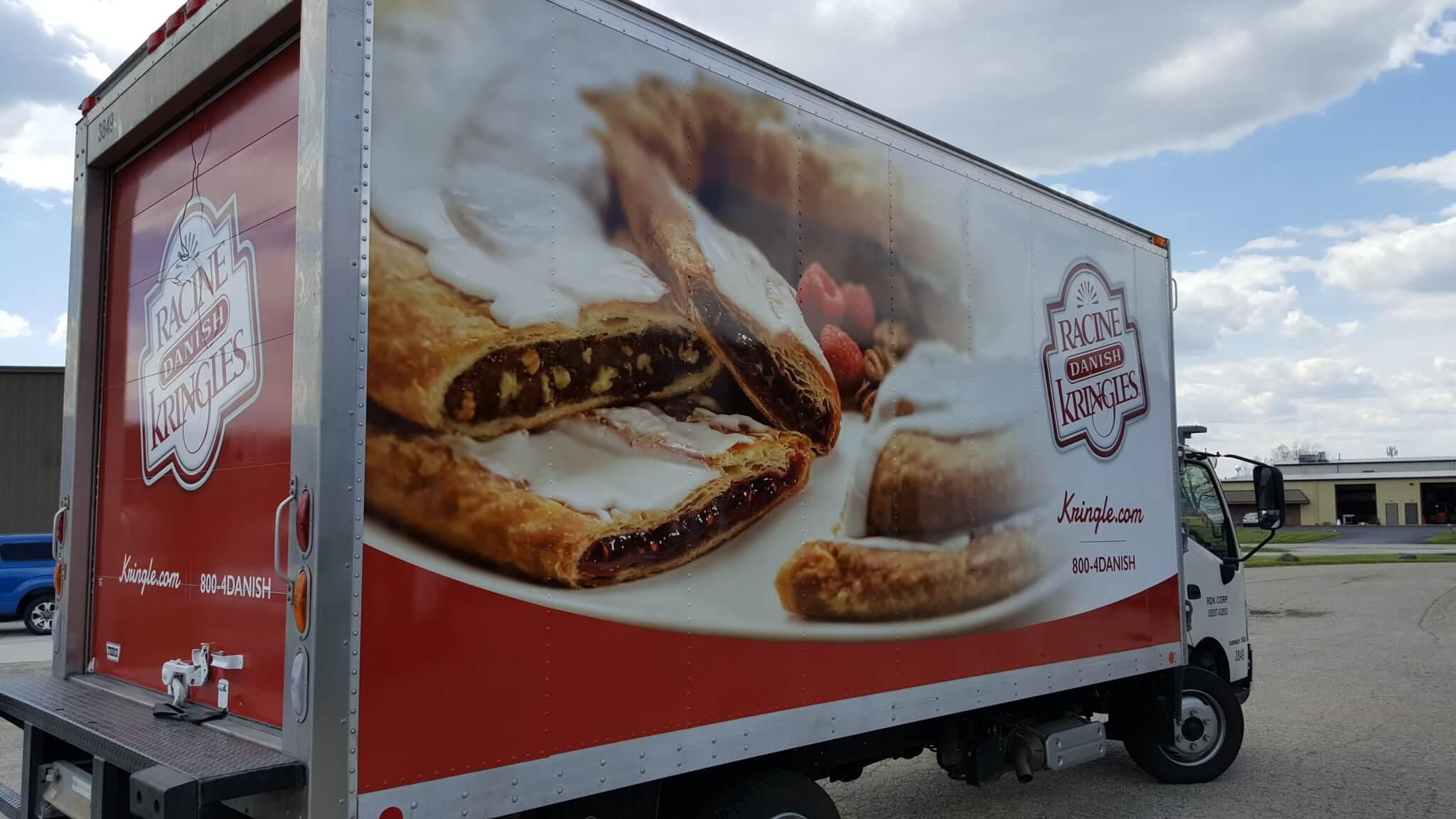 Racing Kringle delivery truck vinyl wrap